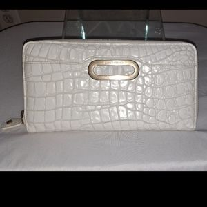 Jimmy Choo Off White Croc Embossed Leather Clutch